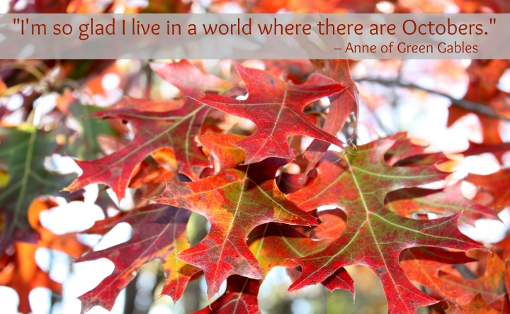 Quote: I'm so glad to live in a world where there are Octobers. Anne of Green Gables