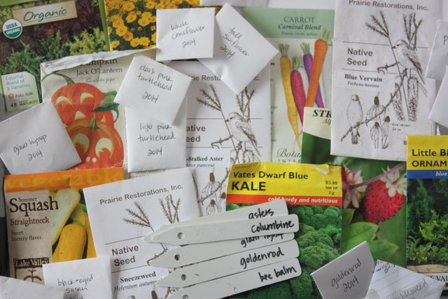 a pile of flower and vegetable seed packets with handwritten plastic plant markers