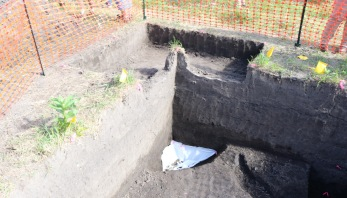 corner of an excavated hole