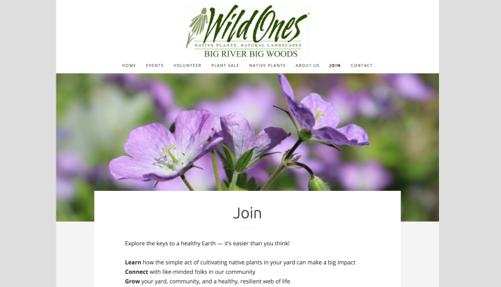 Screen shot of the Wild Ones Big River Big Woods website, with an image of wild geranium near the top.